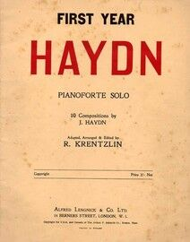 First Year Haydn - For Pianoforte Solo - 10 Compositions