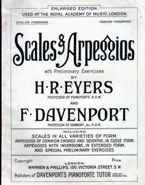 Scales & Arpeggios with Preliminary Exercises - English Fingering - Enlarged Edition used at the Royal Academy of Music London