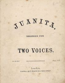Juanita - Popular Song - Arranged for two voices
