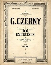 Czerny - 101 Exercises Complete - W. Paxton No. 25.056 - Foreign Fingering