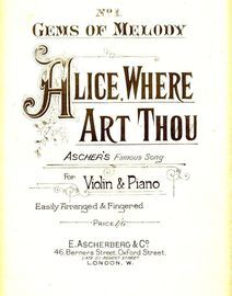 Alive Where Art Thou - Gems of Melody Series No. 1 - Easily arranged and fingered for Violin and Piano