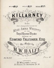 Killarney - In the key of G major for high voice - As sung with distinguished success by Miss Anna Whitty