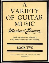 A Variety of Guitar Music - Book 2 - Staff notation and tablature with instruction on music reading