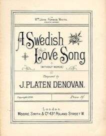 A Swedish Love Song (Without Words) - Dedicated to Mrs John Forbes White