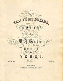 Yes! in my Dreams - Aria - For Piano and Voice