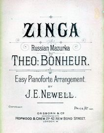 Zinga - Russian Mazurka - Easy Pianoforte Arrangement