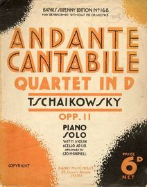 Quartet in D - Op. 11 - Piano Solo with Violin & Cello ad Lib - Banks Sixpenny edition No. 168