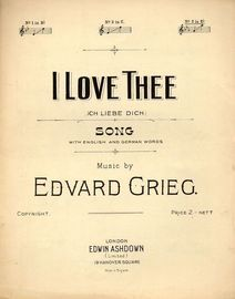 I Love Thee (Ich Liebe Dich) - Song In the Key of C major for medium voice with English and German Words