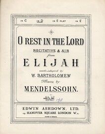 O Rest In The Lord, Sacred Song from Elijah - Key of D major