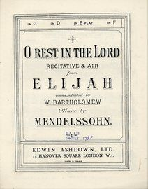 O Rest In The Lord, Sacred Song from Elijah - Key of E flat major