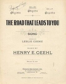 The Road That Leads To You - Song - In the key of E flat major for medium voice