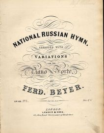 National Russian Hymn - Arranged with Variations for the Piano Forte - Op. 100 - No. 1