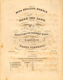 Hark the Lark - Beauties of German Song No.2 - As sung by Miss Adelaide Kemble