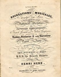 Recreations Musicales - Twenty Four Airs in Four Books - Book 2 - Selected from the most popular national melodies and favourite compositions of Frenc