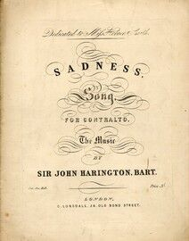 Sadness Song - for Contralto - Dedicated to Miss Horace Smith