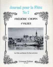 4 Valses - Journal pour la Flute No. 7 - For Flute and Piano - Universal Edition No. UE 18087