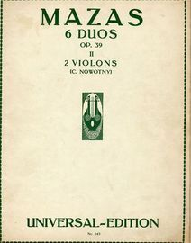 6 Duos for 2 Violins - Book II - Op. 39 - Universal Edition No. 243