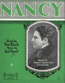 Nancy - Sung by the Eminent Operatic Tenor Ciccolini - For Piano and VOice