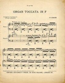 Bach - Organ Toccata in F Major - Arranged for Two Pianos