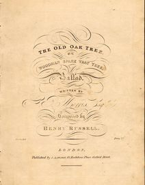 The Old Oak Tree or Woodman Spare that Tree - Ballad