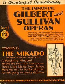 The Mikado - Famous Numbers from Act 1- The Immortal Gilbert and Sullivan Operas - Part 1 - Containing the stories of the plays and the words and musi
