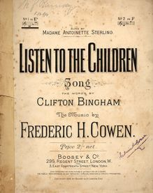 Listen To The Children - Song in the Key of E flat - for Low Voice - Sung by Madame Antionette Sterling