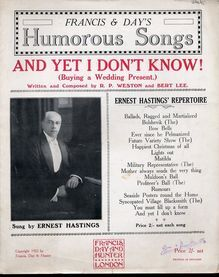 And Yet I Dont Know - Song for Piano and Voice - As Sung by Ernest Hastings