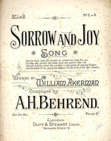 Sorrow And Joy - Song in The Key of D Major - for Low Voice