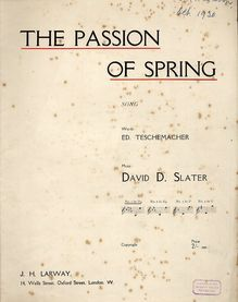 The Passion Of Spring - Song for Low Voice in the Key of D flat