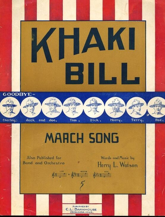 10061 | Khaki Bill - March Song - For Medium Voice and Piano