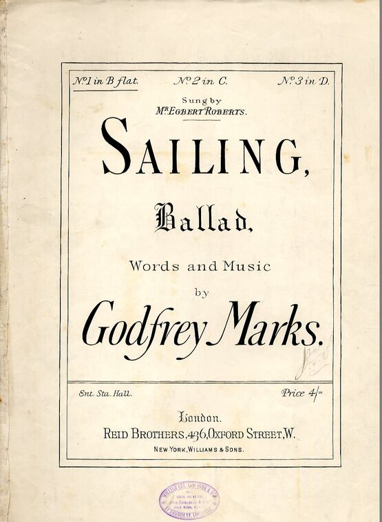 10097 | Sailing - Ballad in the key of B flat major for lower voice