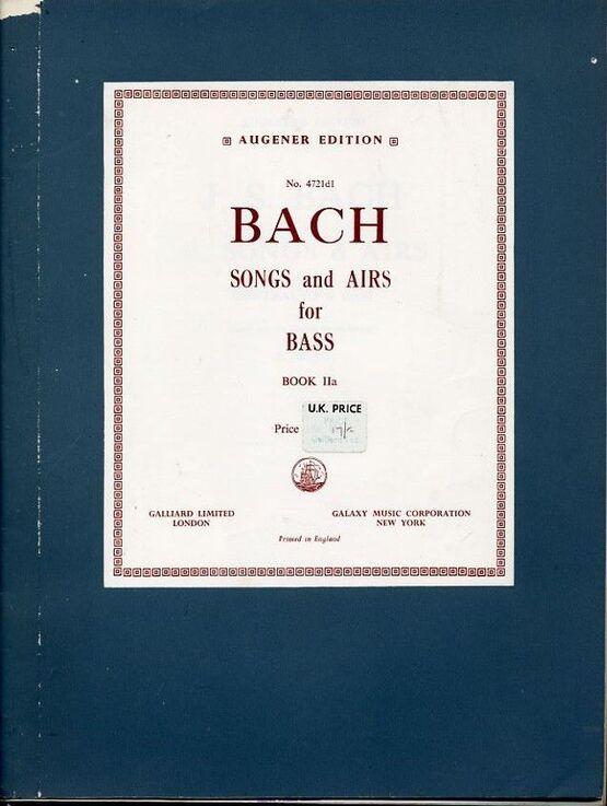 10467 | Bach -  40 Songs and Airs for  Contralto Bass - Book 11a -  Augeners Edition No. 4721d1