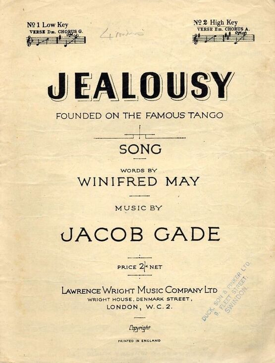 11 | Jealousy - Founded on the Famous Tango - Song - No. 2 High Key - Verse E minor, Chorus A major
