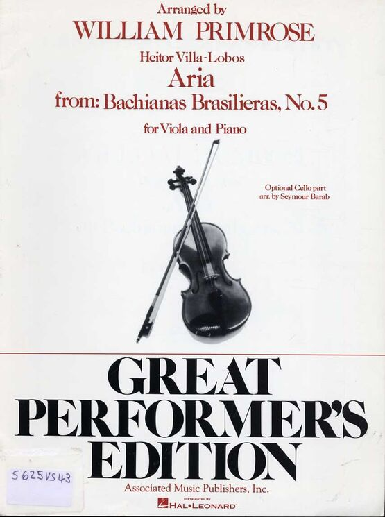 11295 | Aria - From Bachianas Brasilieras No. 5 - For Viola & Piano, with optional Cello part
