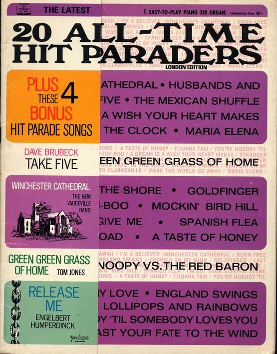 11392 | 20 All Time Hit Parades - Easy to Play Piano or Organ with Words - Touch of Today Edition No. 20F
