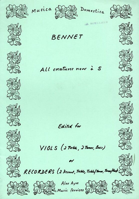 11531 | All Creatures Now - Arranged for Viols or Recorders - Musica Domestica Edition