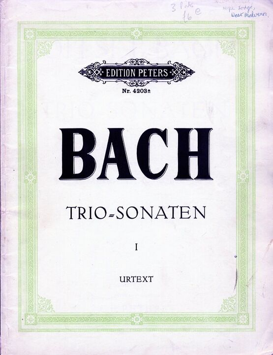 11694 | Bach - 2 Sonatas - For String Trio and Harpsichord - Edition Peters No. 4203a
