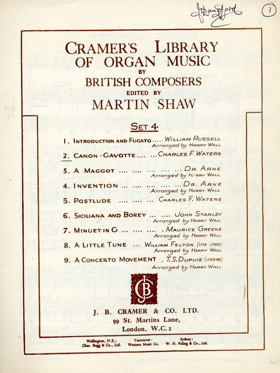 11845 | Cramer's Library of Organ Music by British Composers - Canon / Gavotte - Edited by Martin Shaw - Set 4 - For Organ