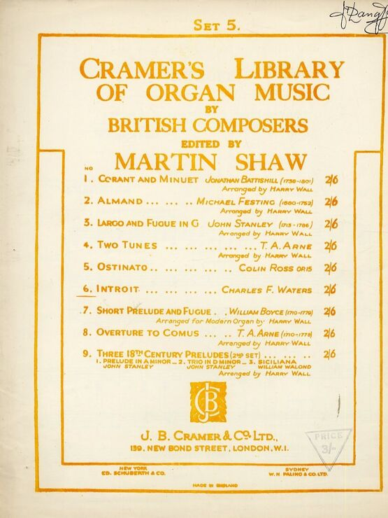 11845 | Cramer's Library of Organ Music by British Composers - Introit - Edited by Martin Shaw - Set 5