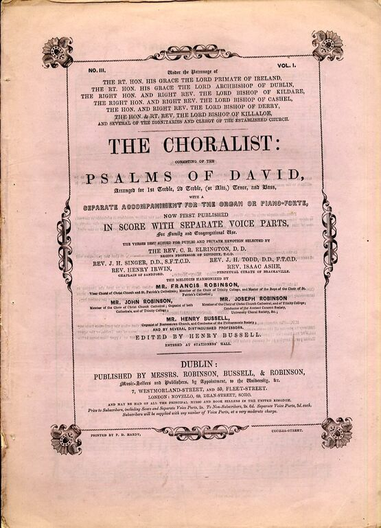 The Choralist Consisting Of The Psalms Of David Volume 1 No 3