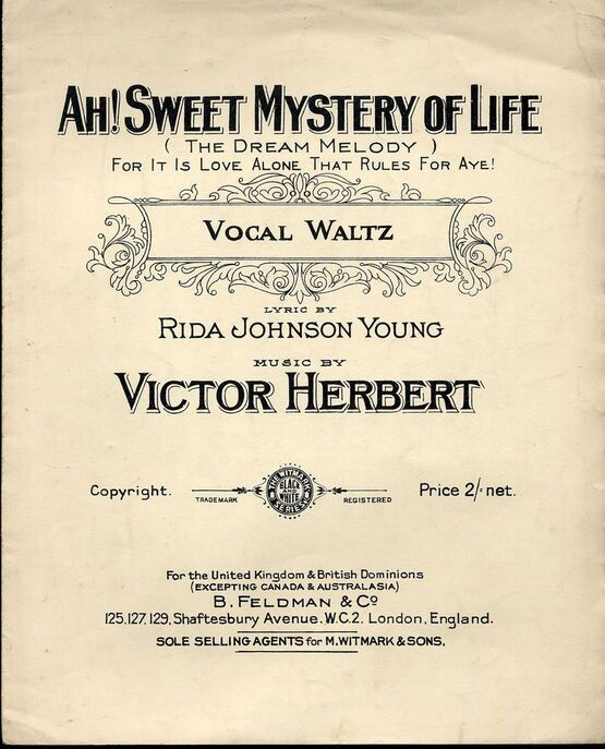 1507 | Ah Sweet Mystery of Life - Vocal Waltz  (The Dream Melody) - For it is love alone that rules for aye!!