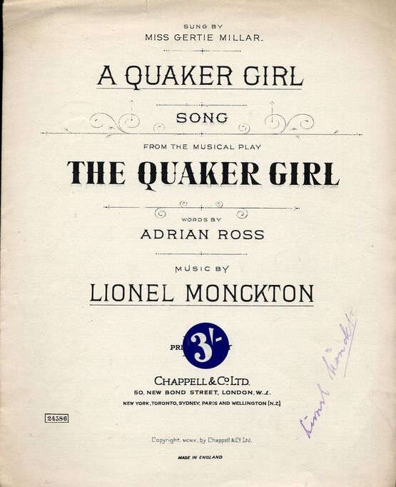 165 | Quaker Girl - Song from the Musical Play