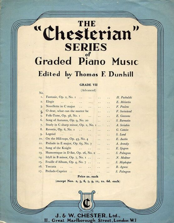 184 | O Dear what can the matter be - the Chesterian Series of Graded Piano Music - Grade VII (advanced) - Series No. 4