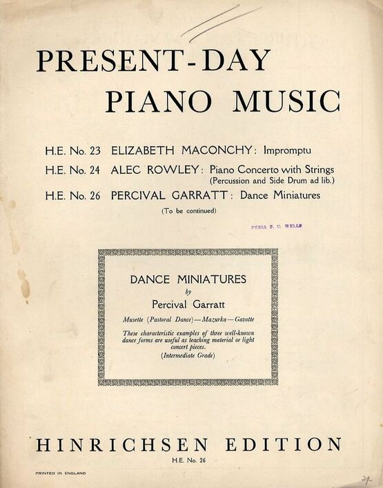 2002 | Dance Miniatures from Present-Day Piano Music - Hinrichsen Edition No. 26