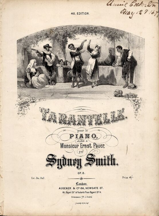 2274 | Tarantelle. Piano Solo in E minor, Op8. Illustrated by A Laby. Printed by Stannard and Son