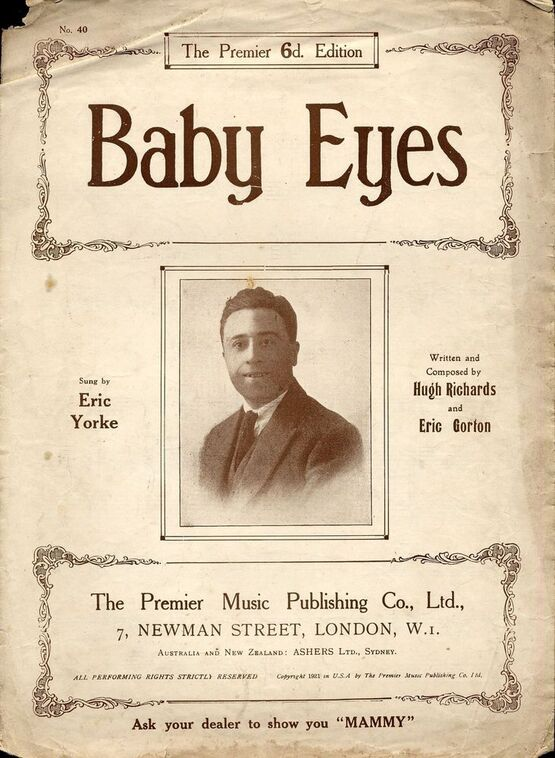 2442 | Baby Eyes - Sung by Eric Yorke ( image of him on the front cover)