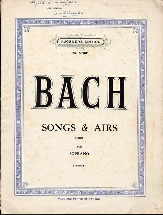 2715 | Bach - Songs and Airs Book 1 - For Soprano - Augeners Edition No. 4720a