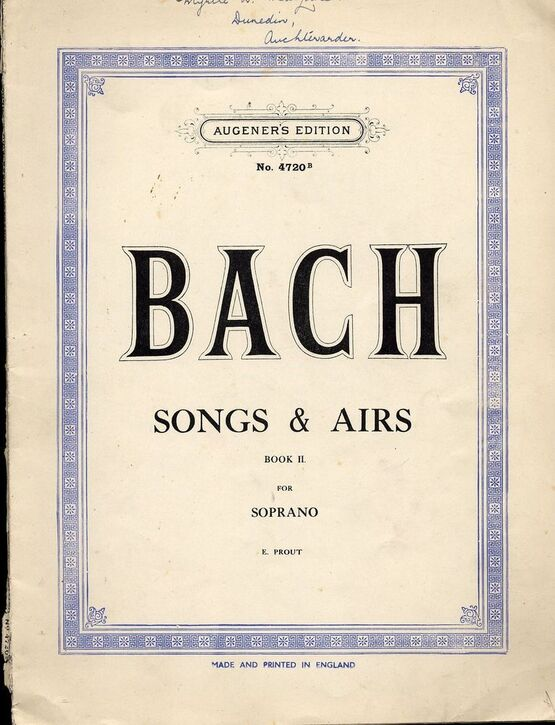 2715 | Bach - Songs and Airs - Book 2 - For Soprano - Augeners Edition No. 4720b