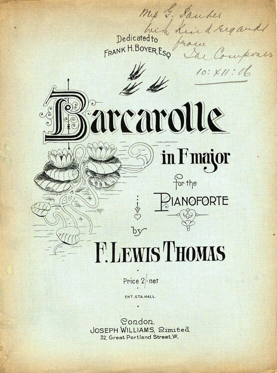 3305 | Barcarolle in F major - For the Pianoforte