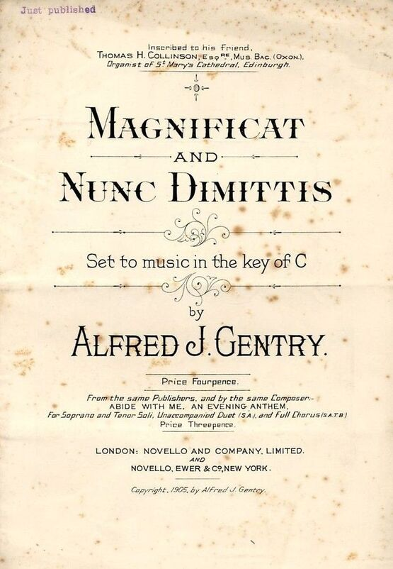 3528 | Magnificat and Nunc Dimittis - Set to music in the key of C - Inscribed to his Friend Thomas H. Collinson, Esq. Organist of St. Mary's Cathedral, Edin